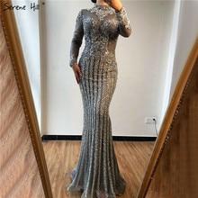 Muslim Grey Luxury Long Sleeves Prom Dresses 2020 Mermaid Diamond Sequined Sparkly Prom Gown Serene Hill BLA70199