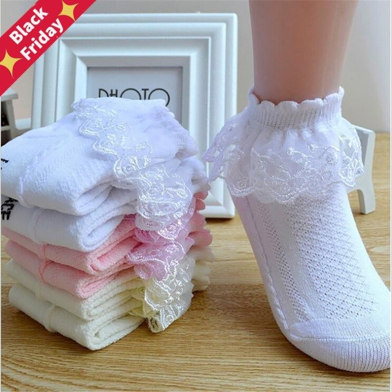 Дышащие хлопковые кружевные сетчатые носки принцессы с оборками Детские короткие носки до щиколотки белые, розовые, Желтые Детские носки д...