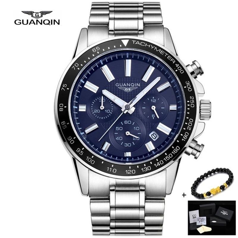 Reloj de acero completo de GUANQIN para hombre, reloj de cuarzo de acero inoxidable de lujo, reloj de pulsera impermeable para hombre