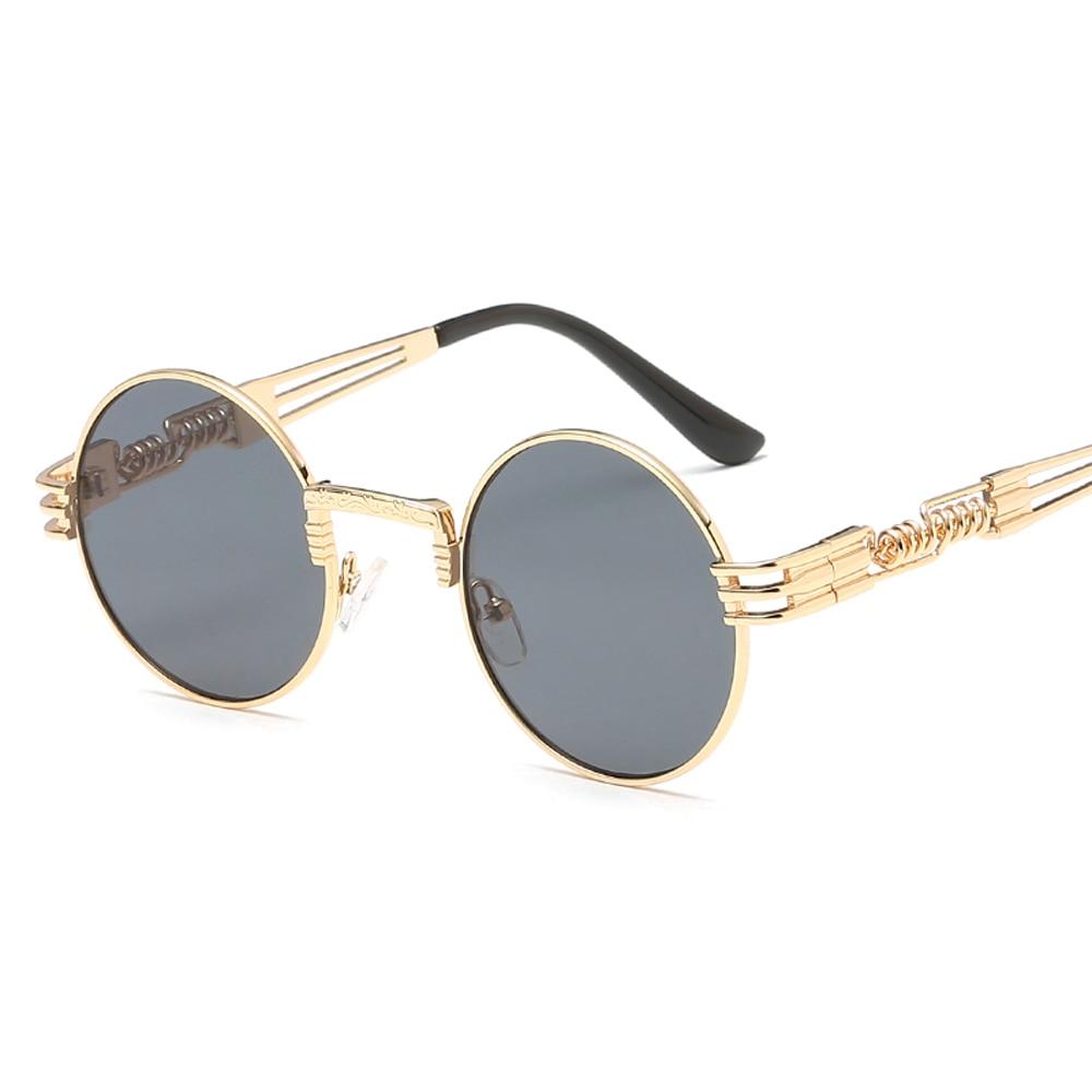 XaYbZc Round Sunglasses Men Women Metal Punk Vintage Sunglass Brand Designer Fashion Glasses Mirror