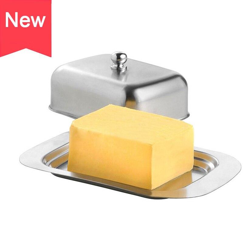 طبق الزبدة من الفولاذ المقاوم للصدأ مع غطاء صندوق تخزين الجبن الحاويات غسالة صحون معدن آمن مغطاة زبدة طبق ملاعق خشبية للمطبخ