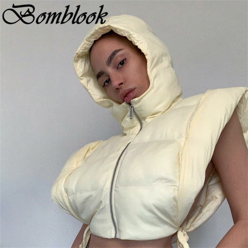 Куртка женская стеганая с капюшоном, на молнии, без рукавов