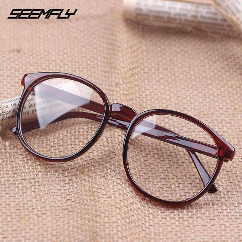 Seemfly hombres mujeres montura de gafas Retro gran marco redondo gafas lentes transparentes mujer hombre leopardo Vintage gafas