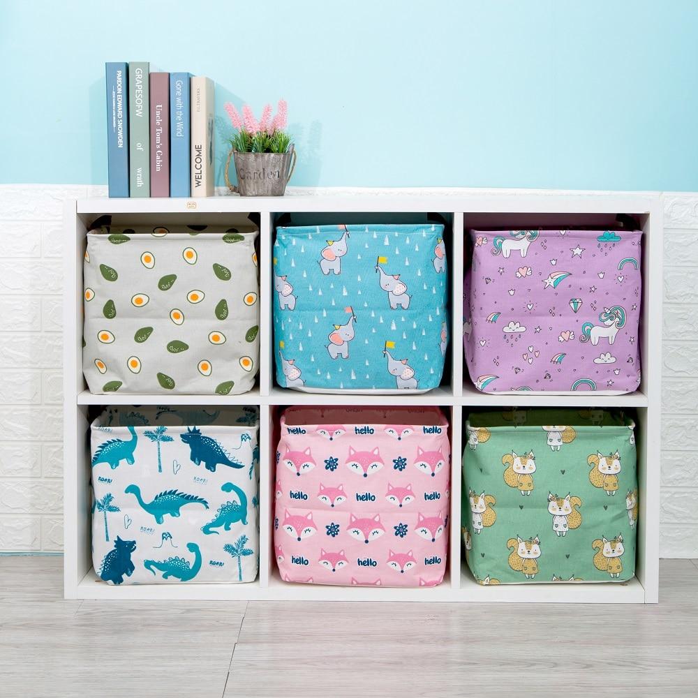 2020 New Folding Linen Fabric Storage Basket Cube Kids Clothes Storage Box Waterproof Laundry Basket