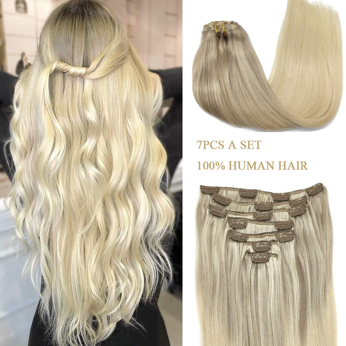 Human Hair Clip in Extensions Full Head 14inch-24inch Human Remy Hair Blonde Natural Thick Clip in Hair extensions 7pcs Set 120G