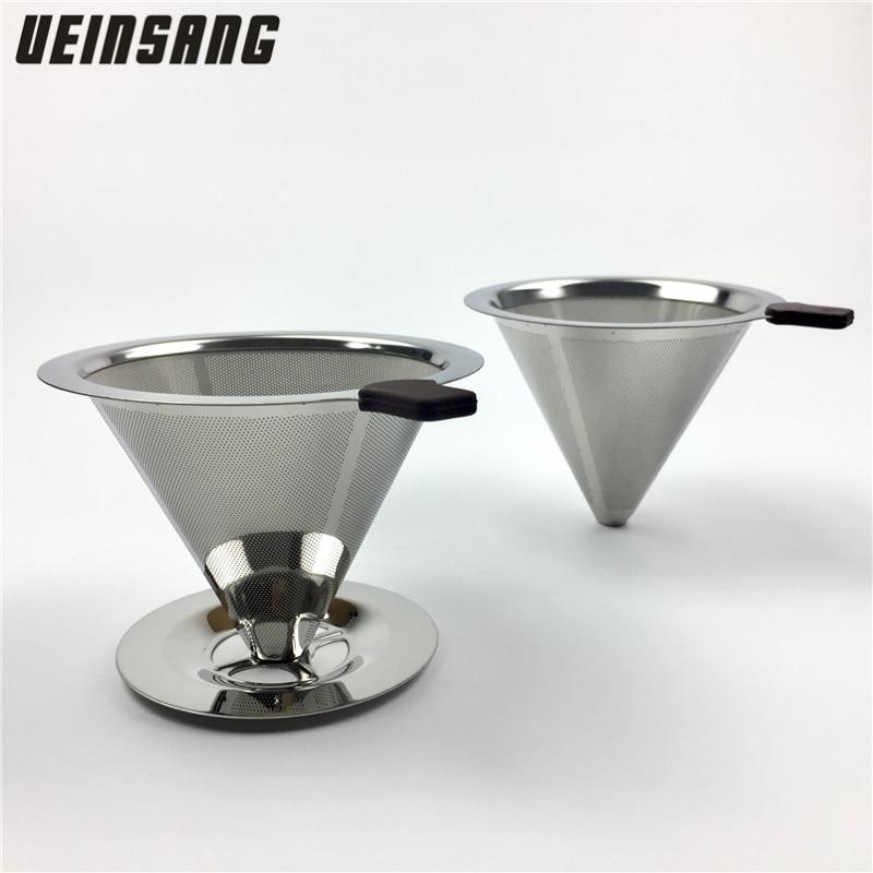 Filtro de café reutilizable soporte de acero inoxidable cestas de embudo de malla metálica Drif filtros de café gotero v60 taza de filtro de café