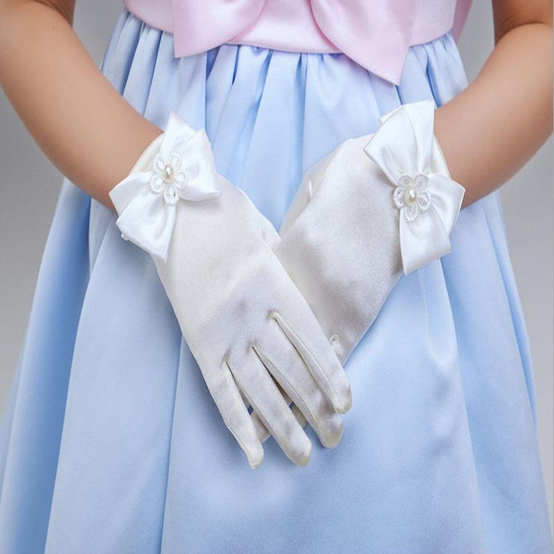 Guantes de lazo para fiesta con flores encantadores, 1 par, guantes de lazo para niñas, accesorios de comunión, guantes para niños
