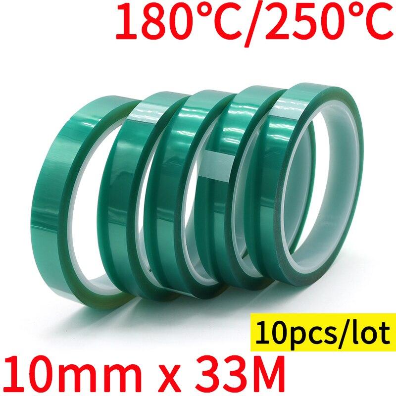 شريط فيلم PET أخضر 10 مللي متر × 33 م ، مقاوم للحرارة العالية ، PCB ، لحام SMT ، طلاء بخاخ ، حماية عازلة ، 10 قطعة