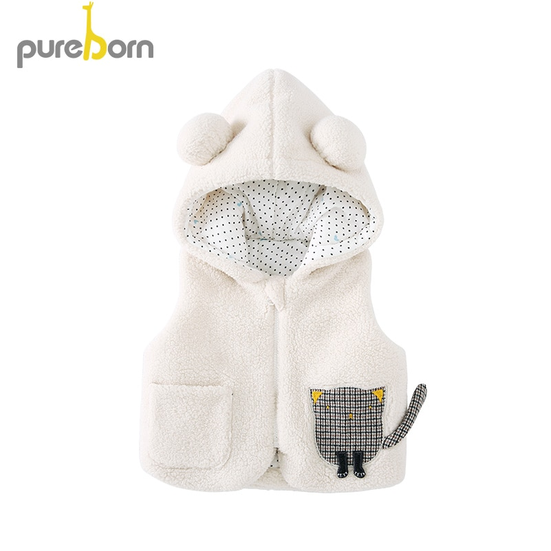 Pureborn niño Unisex bebé chaleco polar sin mangas bebé chaqueta algodón acolchado bebé capa dibujos animados gatito bebé ropa de invierno