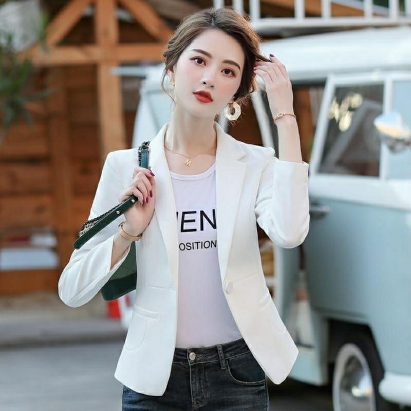 PEONFLY Women Blazer 2020 Formal Blazers Lady Office Single Button Pockets Jackets Coat Slim Black Women Blazer Femme Jackets