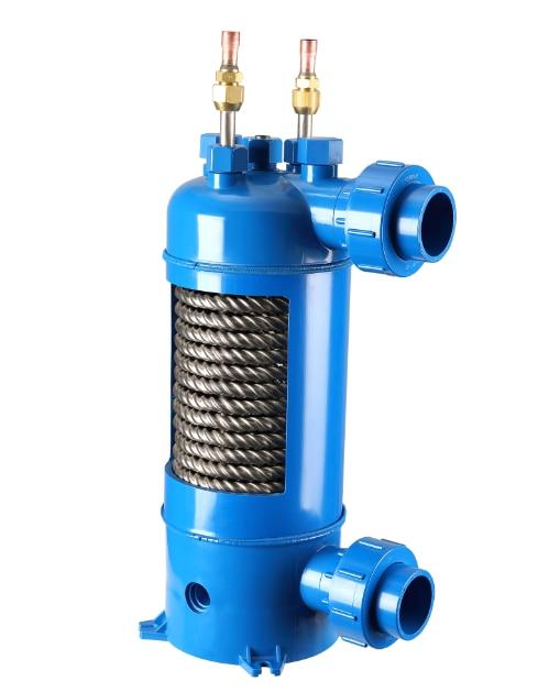 MHTA-12 ثمل التيتانيوم أنبوب pvc قذيفة مبادل حراري للسباحة بركة مضخة الحرارة ، ماء مبرد المبخر