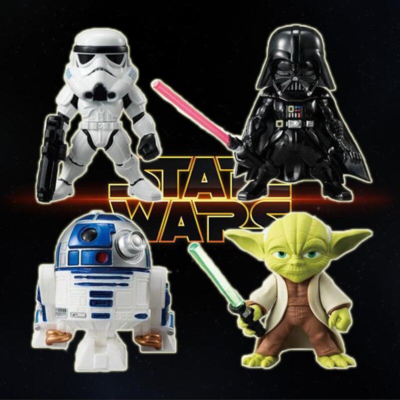 4 unids/set Disney Star Wars Q versión lindo juguete figura de acción modelo de Yoda maestro Darth Vader R2D2 Figma regalo de Navidad los niños