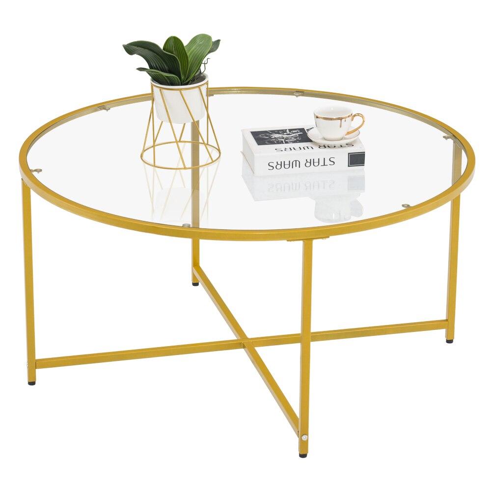 [90x90x45]cm بسيطة عبر القدم واحدة طبقة جولة حافة الجدول طاولة جانبية طاولة القهوة الذهب القهوة الجدول 90 جولة الذهب