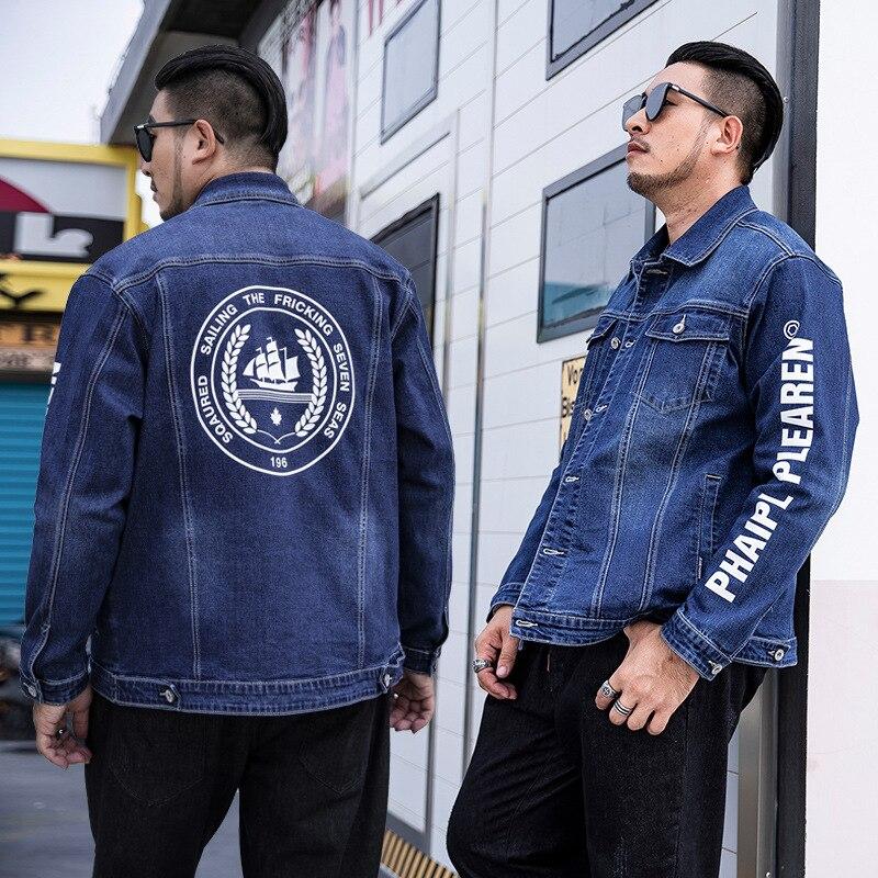 Дополнительные XL Мужская модная джинсовая куртка мужская Толстая джинсовая куртка для мужчин размера плюс мужская одежда