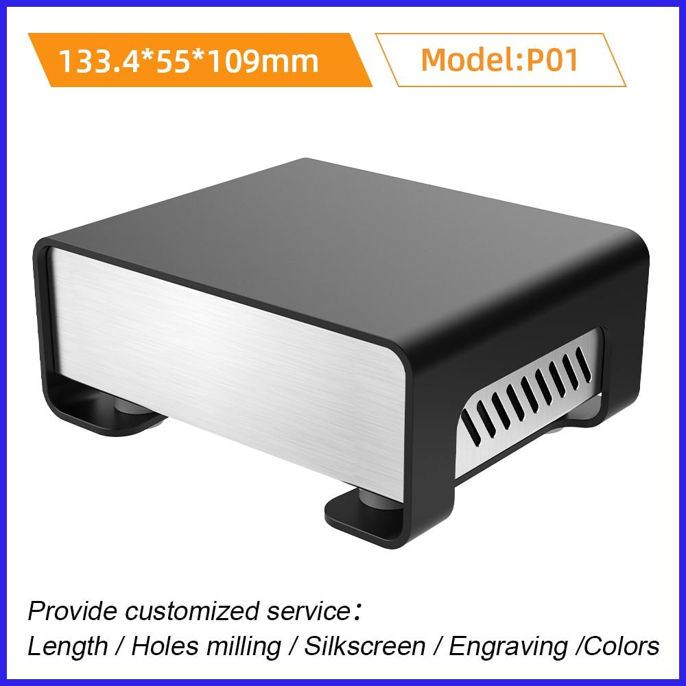 الصفائح المعدنية الانحناء الألومنيوم الإسكان النتوء صندوق وصلات خدمة الالكترونيات المخصصة P01 133.4*55 مللي متر