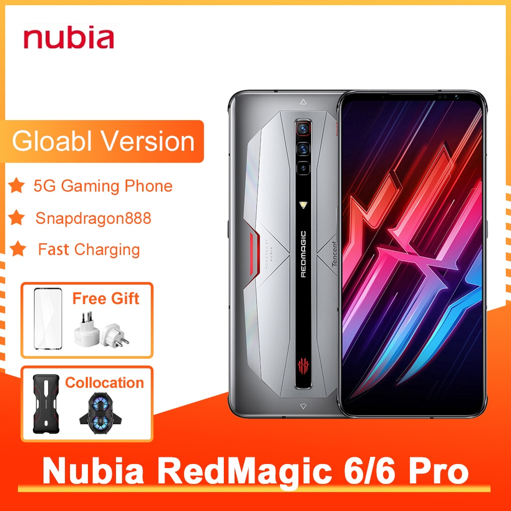 Nubia Red Magic 6/6 pro Global Version 6.8-Inch GamePhone 165Hz Refresh Rate Snapdragon888 Up To 66W 5050mAh Air-Cooled FastChar