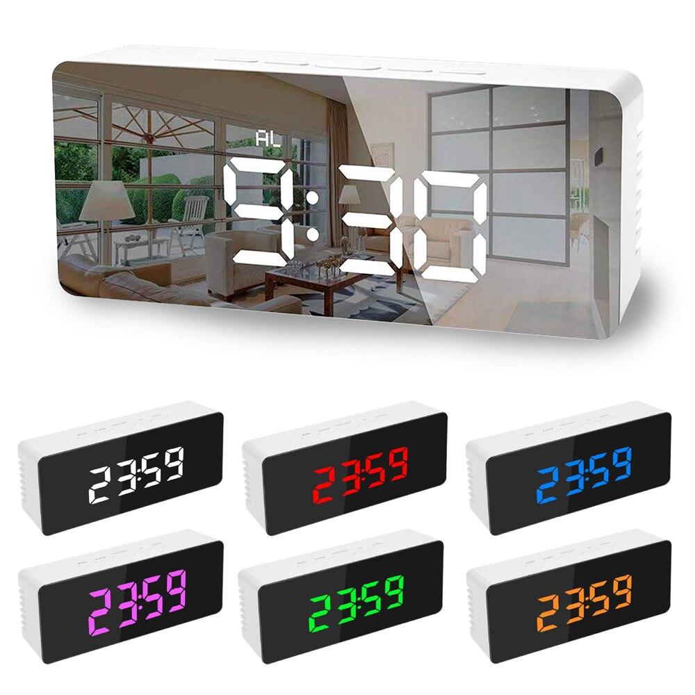 5Fuctions Taste Digitale Spiegel Led-anzeige Wecker 1pc 14x5 0x 3,4 cm Schreibtisch Uhr Temperatur Kalender Snooze funktion mit USB