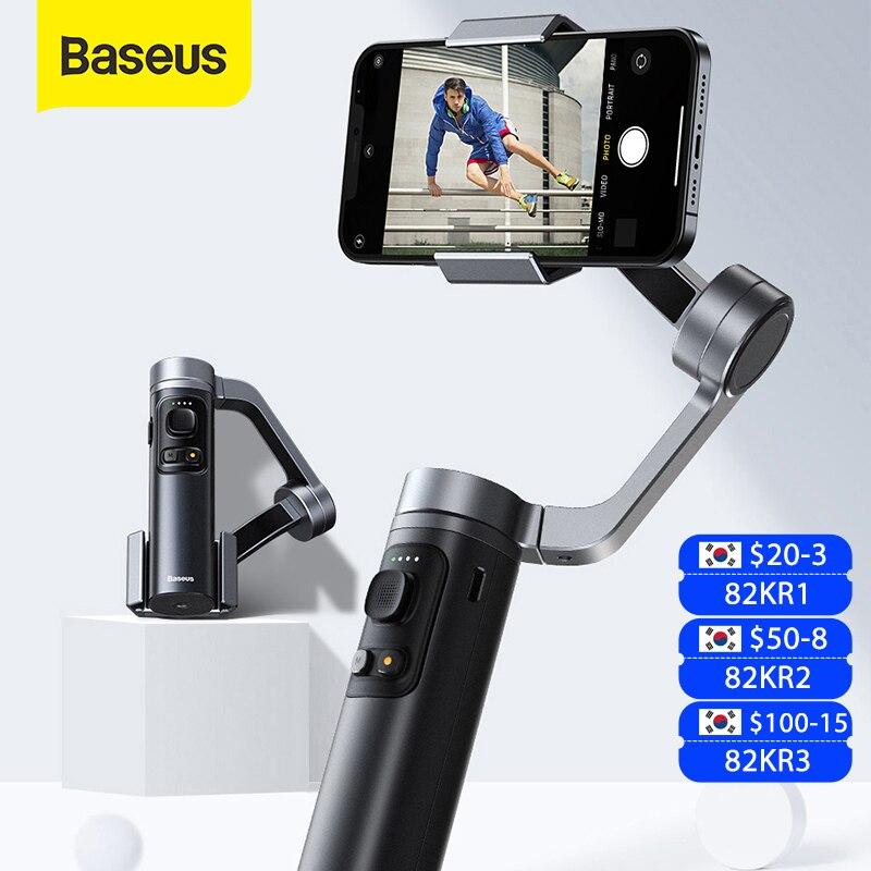 Baseus-عصا سيلفي بلوتوث محمولة ، 3 محاور ، مثبت كاميرا Gimbal ، حامل هاتف قابل للطي لهاتف iPhone 12 Pro Xiaomi Huawei P30