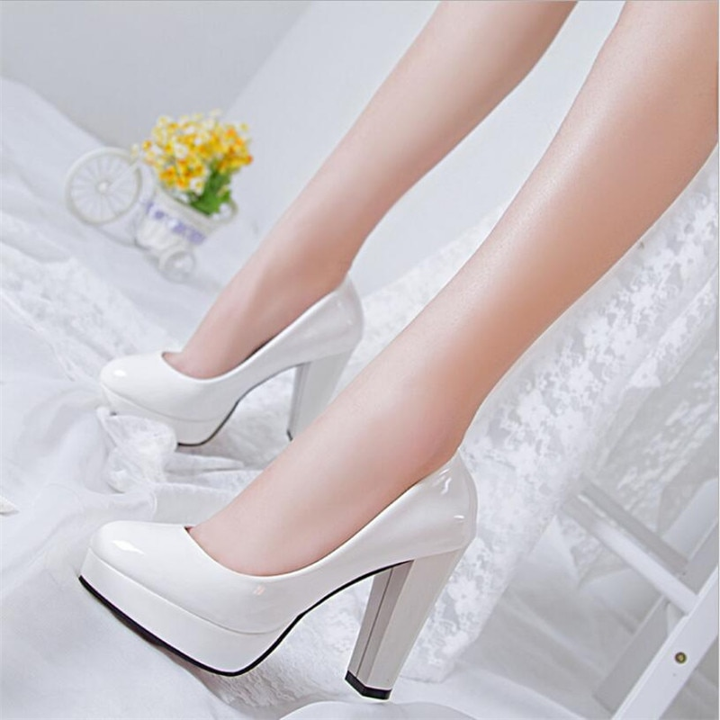 women white wedding bride bridal shoes woman sexy stiletto high heeled pumps ladies high heels shoes plus size 33 47 elissara Sexy Ladies Thin Heeled Pumps Platform Patent Leather Concise Super High Heels Shoes Woman Wedding Party Shoes