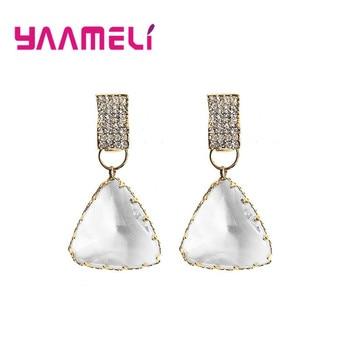 Luxury Geometric Drop Earrings for Women New Triangle Clear Rhinestone Drop Earring Statement Bridal Wedding Party Jewelry Gifts