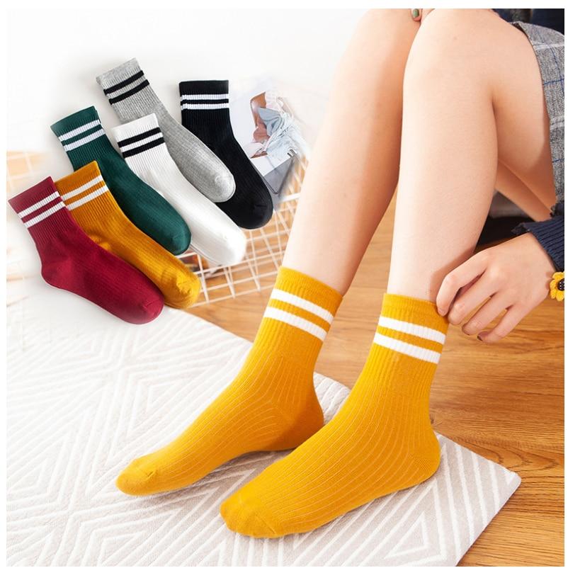 Cotton Blend Ankle Striped Socks Women Girls Sport Casual Sock Hosiery Soft Short Socks 1 Pair for Spring Summer Autumn