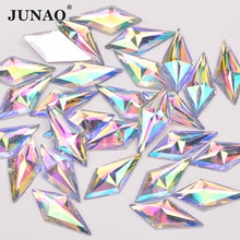 JUNAO 10*22mm Glitter Crystal AB Flatback Rhinestone Resin Crystal Applique Rhombus Fancy Strass Non Sewn Stones Dress Crafts