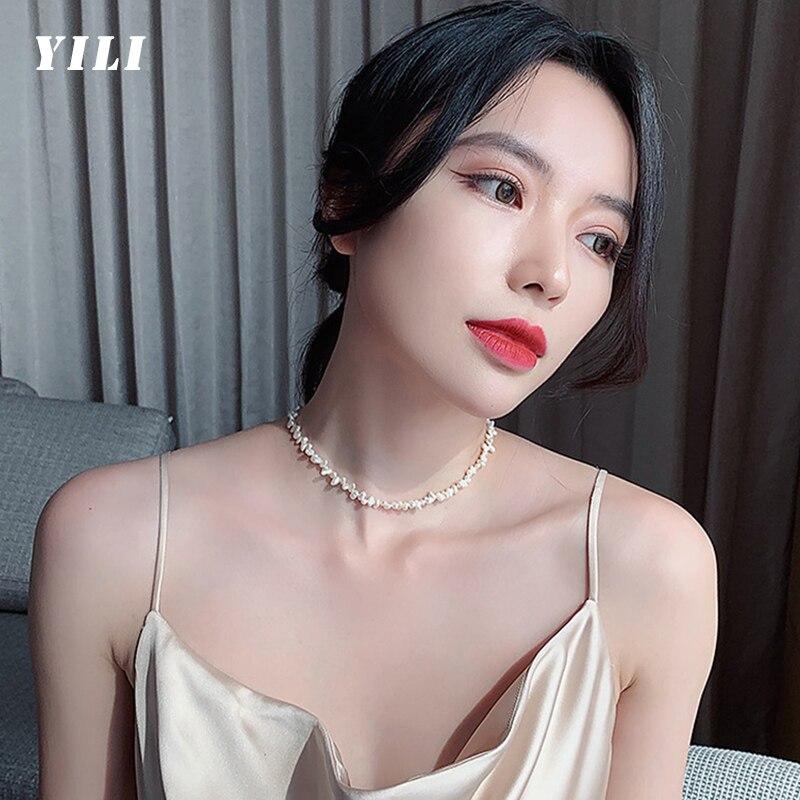 Fashion Korean Baroque Natural Freshwater Pearl Necklace Temperament Irregular Pearl Clavicle Choker