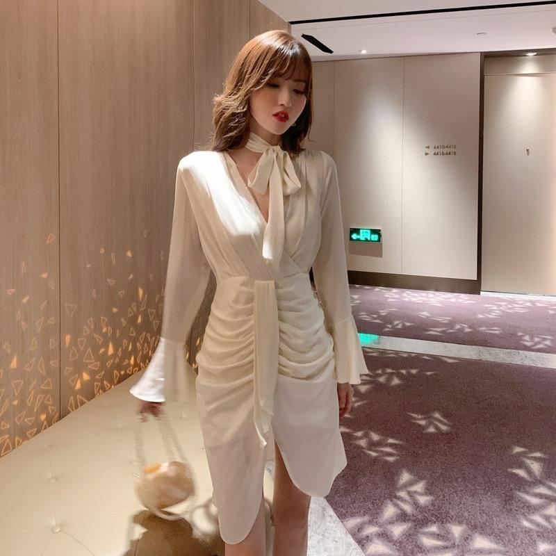 2020 осеннее французское платье с длинными рукавами, офисное женское облегающее платье на молнии длиной до колена, однотонное платье antonio d errico платье до колена