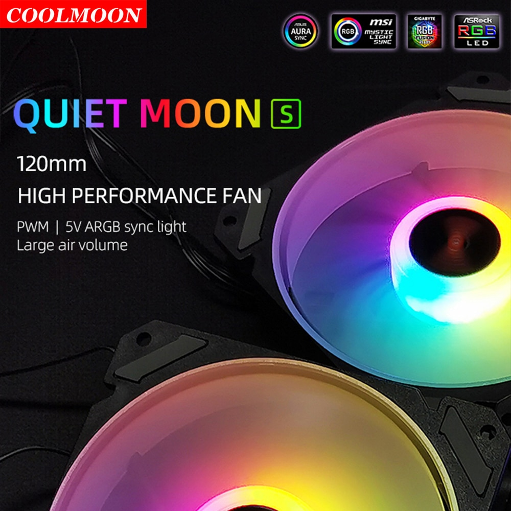 Coolmoon 120mm 5V 3Pin ARGB PC Case Fan 12V 4Pin PWM Cooling Radiator for AURA SYNC CPU 120/240/360 Water Cooler Replacement