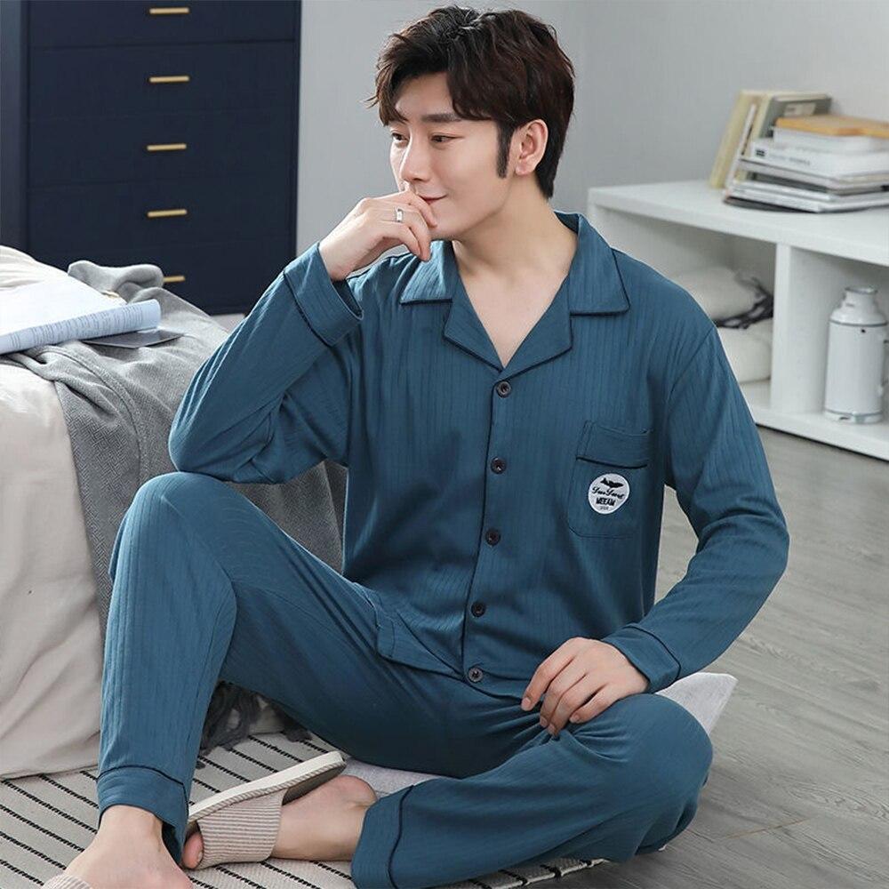 100% 25 хлопок пижама для мужчин плед осень зима одежда для сна пижамы пижамы комплект 3XL повседневная полосатая мужская домашняя одежда дом одежда