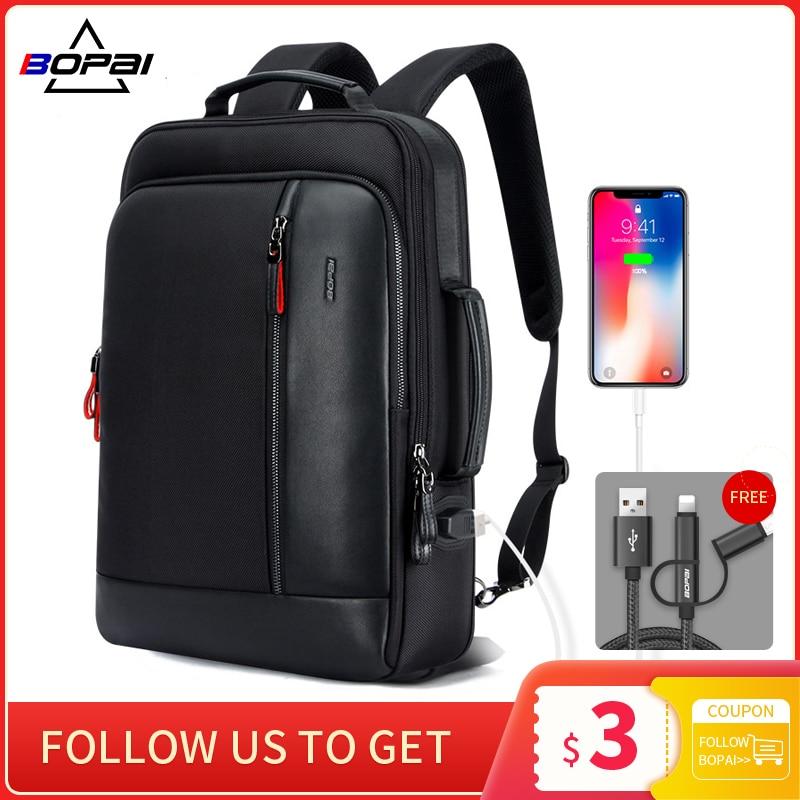 BOPAI Anti Theft Enlarge Backpack USB External Charge 15.6 Inch Laptop Backpack Men Waterproof Schoo