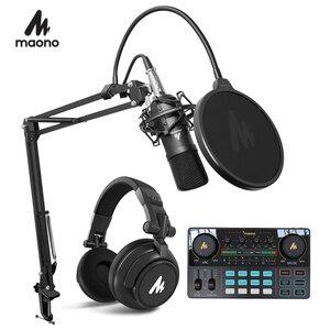 MAONO конденсаторный микрофон профессиональный Podcast Студийный микрофон аудио 3,5 мм компьютерный микрофон для YouTube караоке игровая запись