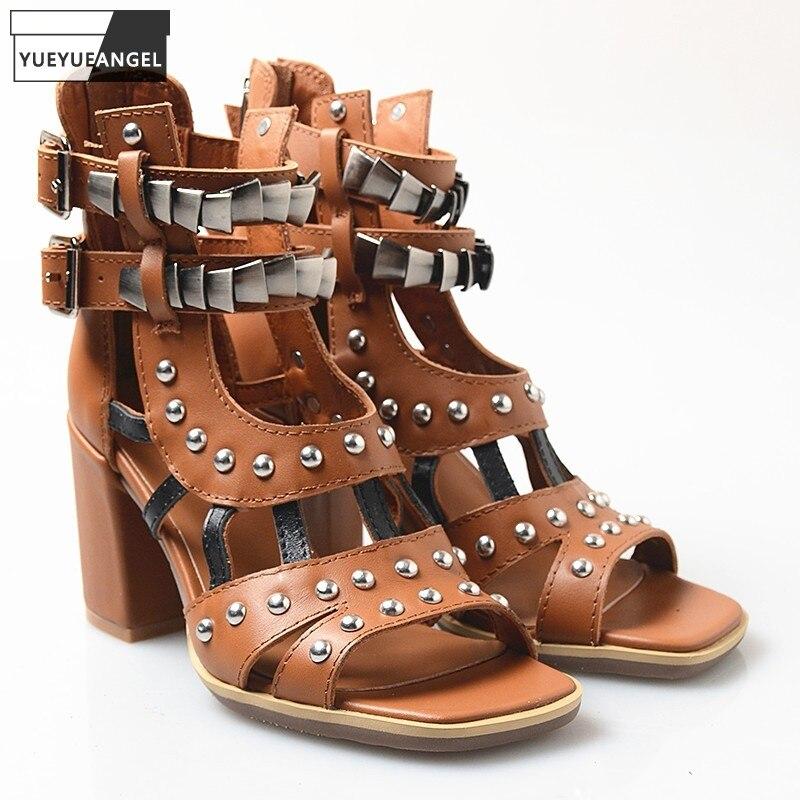 Sandálias de Couro Genuíno das Senhoras do Vintage Sandálias de Salto Bloco do Dedo do pé Verão Alto Aberto Sandálias Alta Superior Rebites Gladiador Sapatos