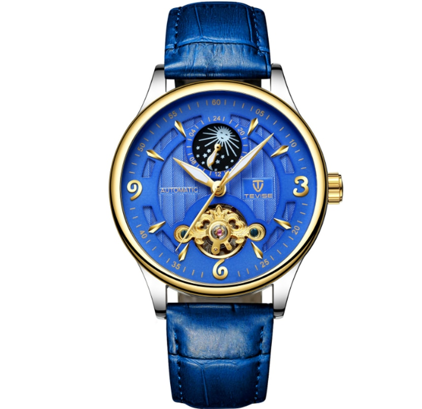 TEVISE Brand Moon Phase  Automatic Mechanical Tourbillon  Mens Watch Leather Strap Comfortable Weari