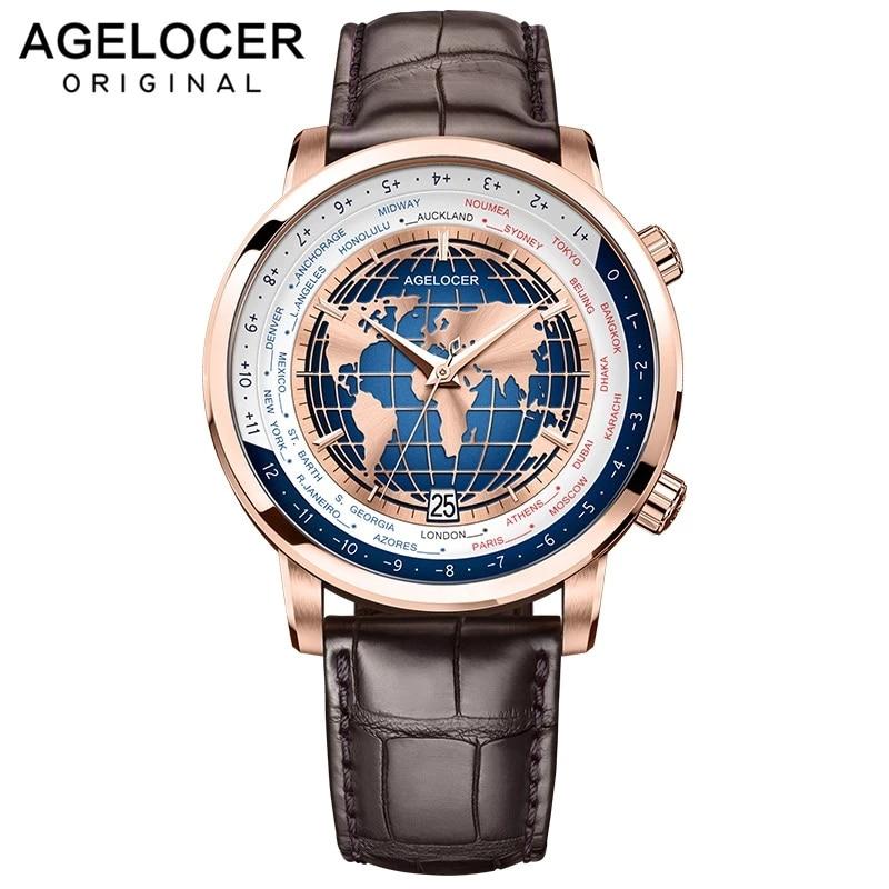AGELOCER رجالي ماركة فاخرة ساعات مزدوجة الوقت Worldtime حركة ميكانيكية أوتوماتيكية ساعة ياقوت للرجال منطقة زمنية متعددة