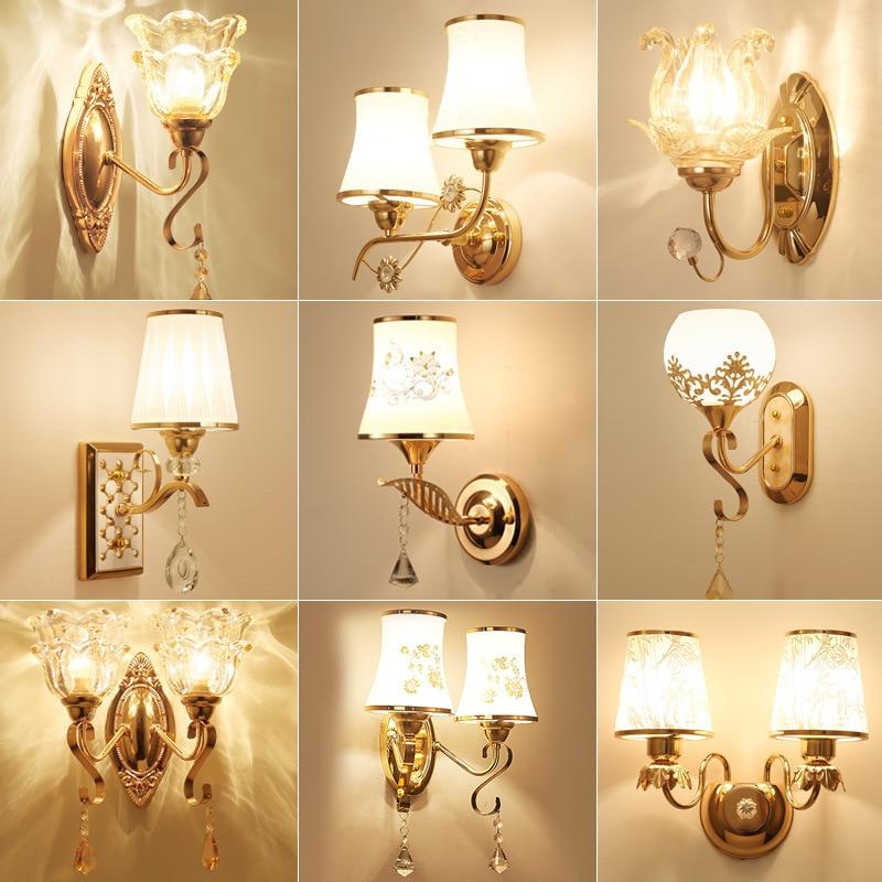 Креативная Золотая светодиодная настенная лампа в европейском стиле, прикроватный светильник для спальни, коридора, гостиной, фоновые свет...