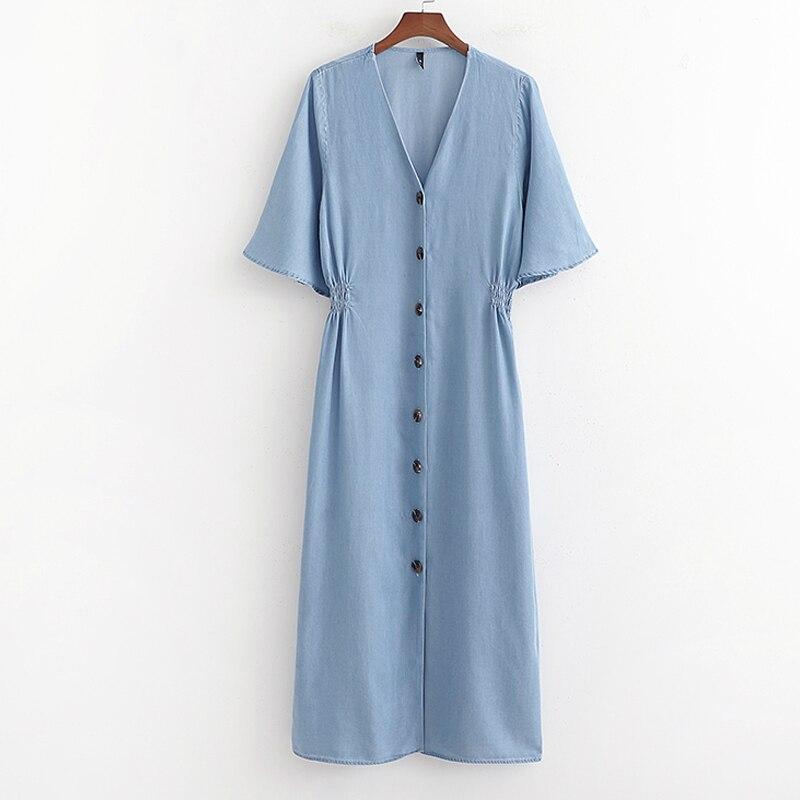 Blue Denim Midi Dress Summer Women Short Sleeve Dresses With Buttons vestido mujer