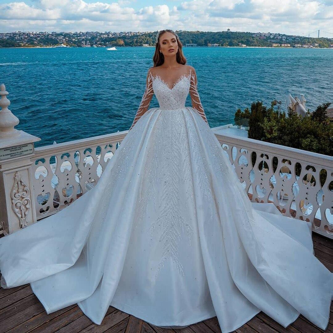 فستان زفاف ساتان مزين بالخرز ، أكمام طويلة ، طول الأرض ، رقبة على شكل v ، مثير ، مرصع بالكريستال ، دبي ، فاخر