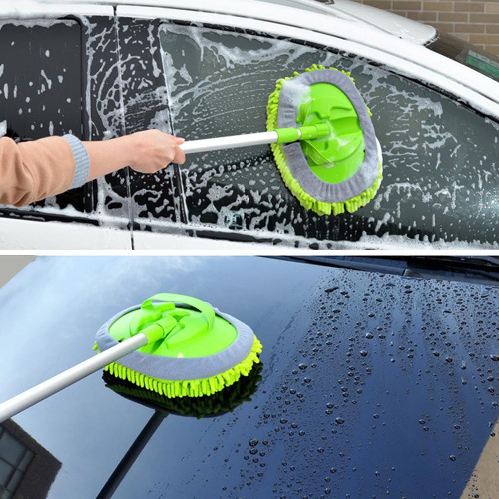 Новая Выдвижная моющая Швабра для автомобиля (включая щеточную насадку) удаляющая пыль Съемная Швабра двойного назначения тряпка сильная водопоглощающая очистка автомобиля