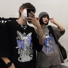 2021 Summer New Korean Style Student Retro Angel Print Loose Short Sleeve T-shirt Couple's Tops Men