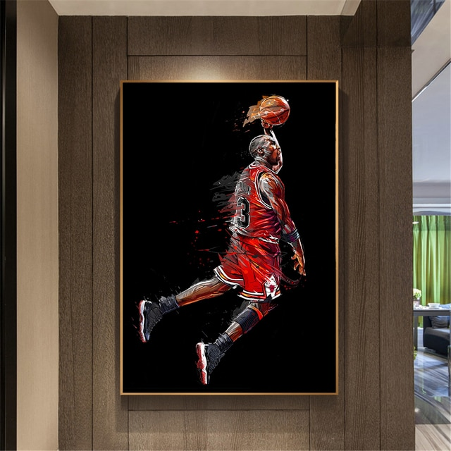 Modern Canvas Art Painting Michael Jordan Poster Fly Dunk Basketball Wall Pictures for Living Room Interior Bedroom Decoration