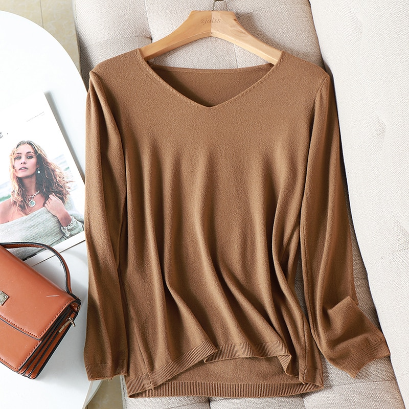 2021 autumn winter Sweater Knitted Pullover women 2020 v-neck oversize sweater female loose long sleeve sweater top Jumper