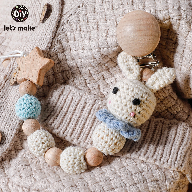 AliExpress - Let's Make1PC Baby Pacifier Chain Rabbit Panda Crochet Beads Wooden Clips Wood Teether Tiny Rod Dummy Clips For Children's Goods