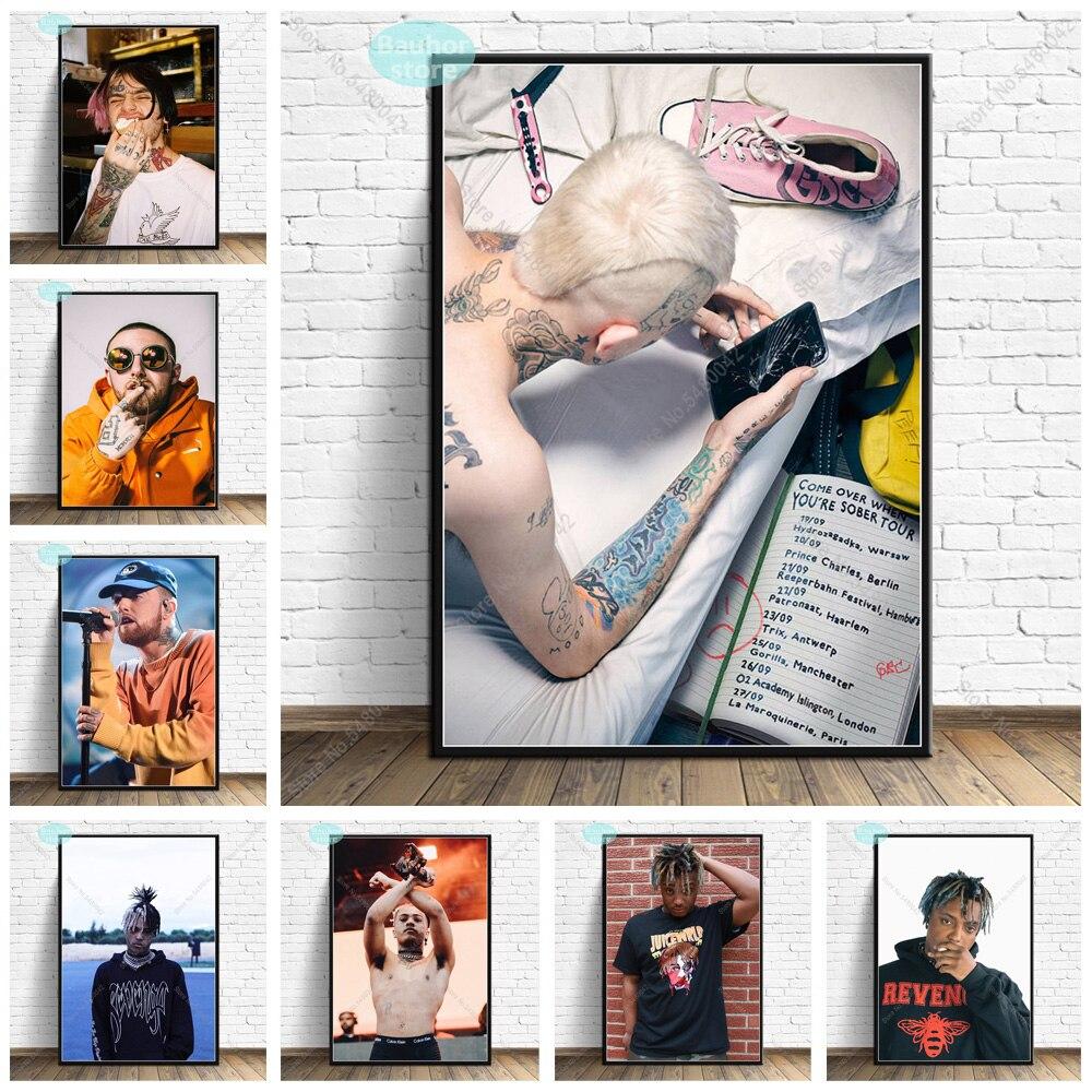 Lil Peep XXXTentacion RIP Dead, póster de rapero, Mac Miller, zumo, lienzo arrugado, pintura, carteles e impresión, arte de pared para decoración del hogar