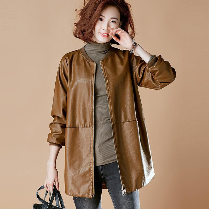 2021 spring and autumn winter new large medium length leather jacket women's Korean Pu loose Baseball Jacket cardigan fashion