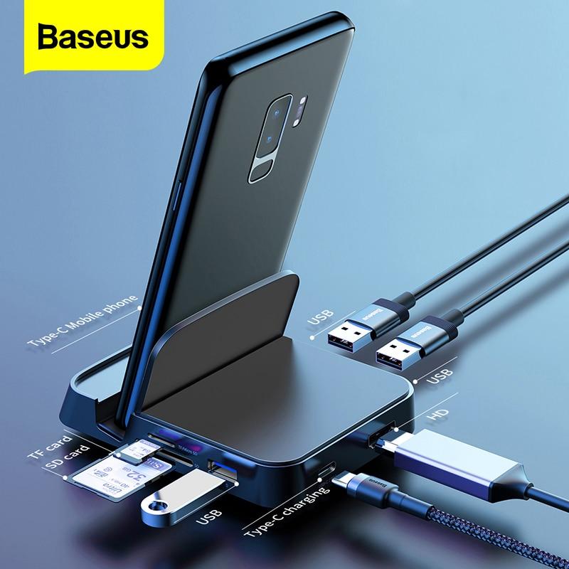 Baseus USB نوع C محور محطة الإرساء لسامسونج S20 S10 Dex الوسادة USB-C إلى HDMI متوافق USB 3.0 محور SD TF بطاقة PD محول