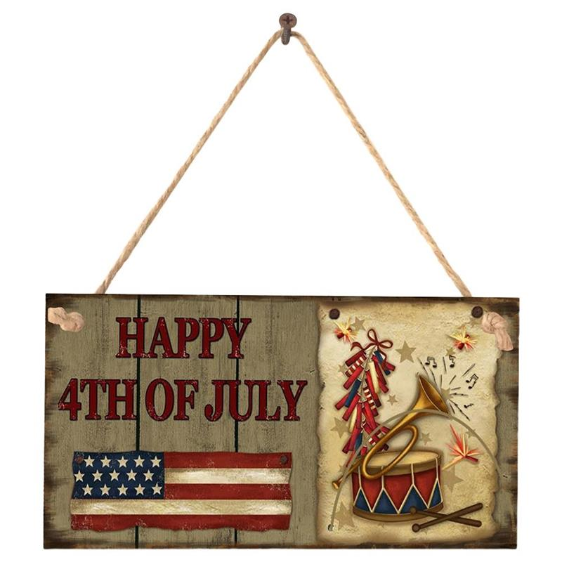4th of July Wooden Plaque Hanging Signs Vintage Wall Decorations Americana Independence Day Party Decorations independence day firecracker birthday backdrop 4th of july first birthday party photo background cake table decorations supplies