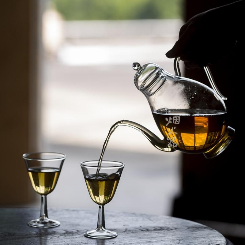 Juego de té Vintage de vidrio resistente al calor, Tetera de borosilicato,...