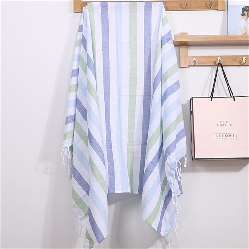 Turkish Cotton Bath Towel Sauna Striped Sports Beach Towel with Tassels for Women Outdoor Sunscreen Portable Water absorbent