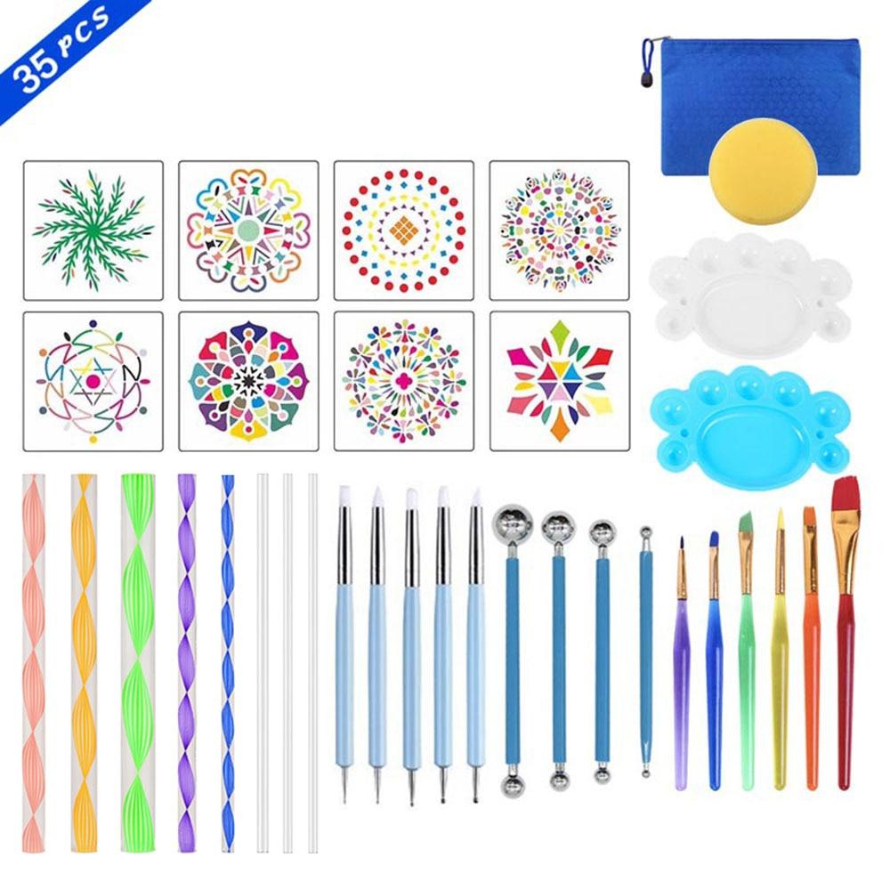 35 pçs mandala conjunto de ferramentas de pintura ponto kits pincéis pintura bandeja pincéis pintura rock pintura lona rochas tecidos arte